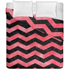 Chevron3 Black Marble & Red Watercolor Duvet Cover Double Side (california King Size)