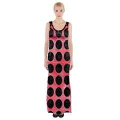 Circles1 Black Marble & Red Watercolor Maxi Thigh Split Dress by trendistuff