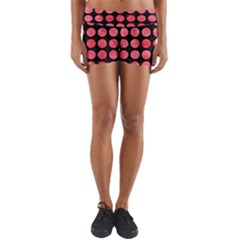Circles1 Black Marble & Red Watercolor (r) Yoga Shorts