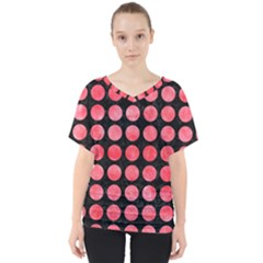 Circles1 Black Marble & Red Watercolor (r) V Neck Dolman Drape Top