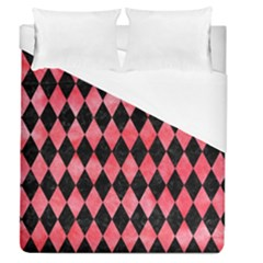 Diamond1 Black Marble & Red Watercolor Duvet Cover (queen Size)