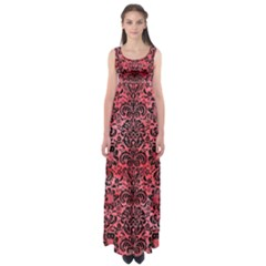 Damask2 Black Marble & Red Watercolor Empire Waist Maxi Dress