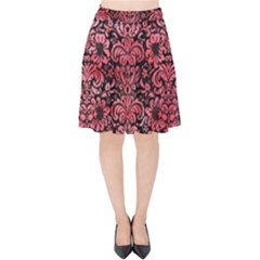Damask2 Black Marble & Red Watercolor (r) Velvet High Waist Skirt