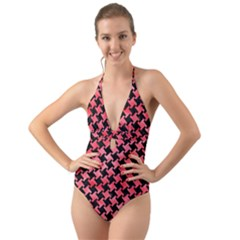 Houndstooth2 Black Marble & Red Watercolor Halter Cut Out One Piece Swimsuit