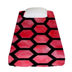 Hexagon2 Black Marble & Red Watercolor Fitted Sheet (single Size) by trendistuff