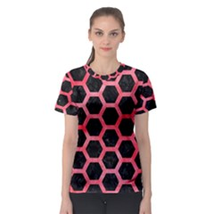 Hexagon2 Black Marble & Red Watercolor (r) Women s Sport Mesh Tee