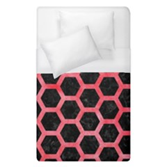 Hexagon2 Black Marble & Red Watercolor (r) Duvet Cover (single Size) by trendistuff