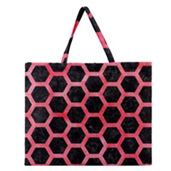 Hexagon2 Black Marble & Red Watercolor (r) Zipper Large Tote Bag by trendistuff