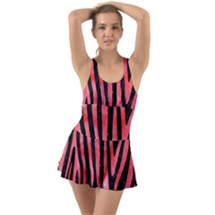 Skin4 Black Marble & Red Watercolor Swimsuit