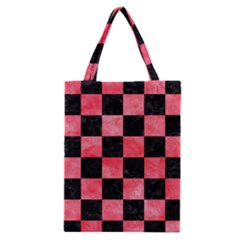 Square1 Black Marble & Red Watercolor Classic Tote Bag by trendistuff