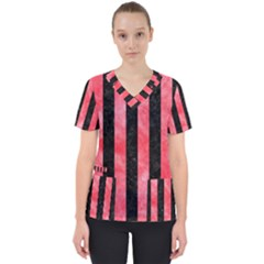 Stripes1 Black Marble & Red Watercolor Scrub Top