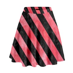 Stripes3 Black Marble & Red Watercolor High Waist Skirt by trendistuff
