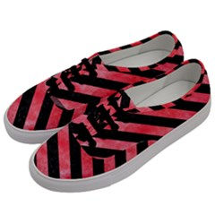Stripes3 Black Marble & Red Watercolor Men s Classic Low Top Sneakers by trendistuff