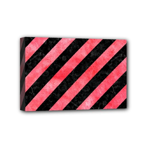 Stripes3 Black Marble & Red Watercolor (r) Mini Canvas 6  X 4  by trendistuff