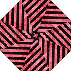 Stripes3 Black Marble & Red Watercolor (r) Folding Umbrellas