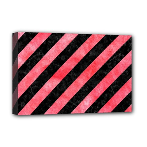 Stripes3 Black Marble & Red Watercolor (r) Deluxe Canvas 18  X 12   by trendistuff