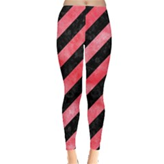 Stripes3 Black Marble & Red Watercolor (r) Leggings