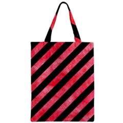 Stripes3 Black Marble & Red Watercolor (r) Zipper Classic Tote Bag by trendistuff