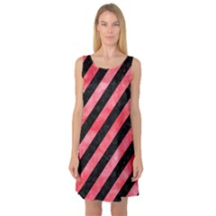 Stripes3 Black Marble & Red Watercolor (r) Sleeveless Satin Nightdress by trendistuff