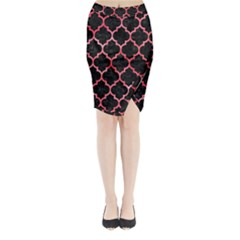 Tile1 Black Marble & Red Watercolor (r) Midi Wrap Pencil Skirt