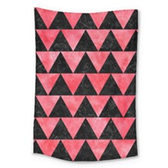 Triangle2 Black Marble & Red Watercolor Large Tapestry by trendistuff