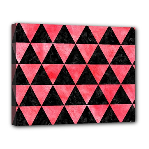 Triangle3 Black Marble & Red Watercolor Canvas 14  X 11  by trendistuff