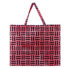 Woven1 Black Marble & Red Watercolor Zipper Large Tote Bag by trendistuff