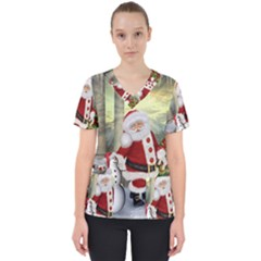 Sanata Claus With Snowman And Christmas Tree Scrub Top