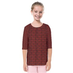Brick1 Black Marble & Red Wood Kids  Quarter Sleeve Raglan Tee by trendistuff