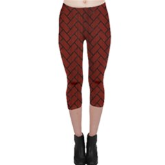 Brick2 Black Marble & Red Wood Capri Leggings  by trendistuff