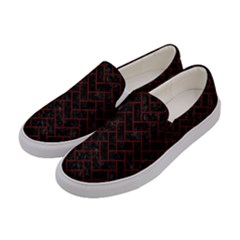 Brick2 Black Marble & Red Wood (r) Women s Canvas Slip Ons by trendistuff