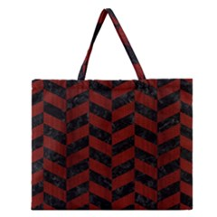 Chevron1 Black Marble & Red Wood Zipper Large Tote Bag by trendistuff
