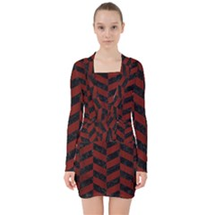 Chevron1 Black Marble & Red Wood V Neck Bodycon Long Sleeve Dress