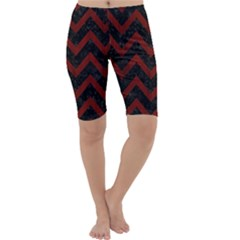Chevron9 Black Marble & Red Wood (r) Cropped Leggings