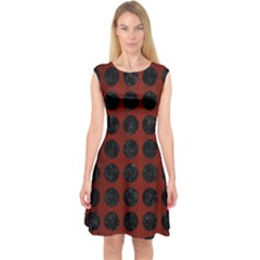 Circles1 Black Marble & Red Wood Capsleeve Midi Dress