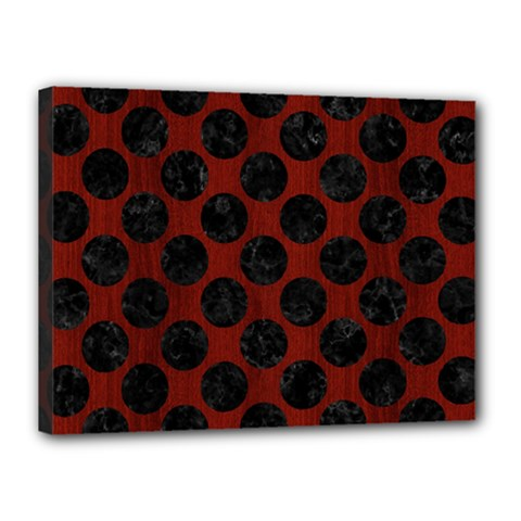 Circles2 Black Marble & Red Wood Canvas 16  X 12  by trendistuff