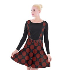 Circles2 Black Marble & Red Wood (r) Suspender Skater Skirt