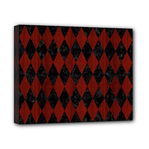Diamond1 Black Marble & Red Wood Canvas 10  X 8  by trendistuff