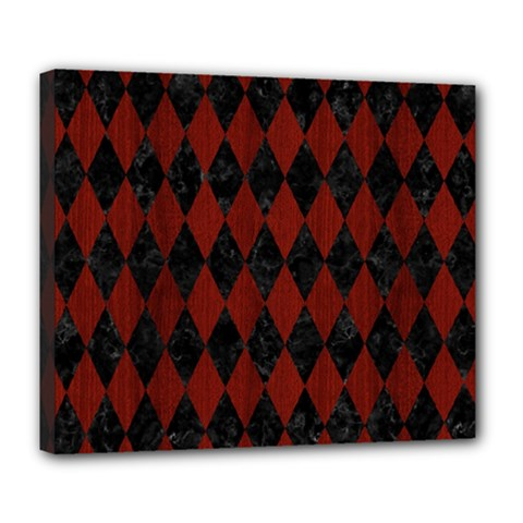 Diamond1 Black Marble & Red Wood Deluxe Canvas 24  X 20   by trendistuff