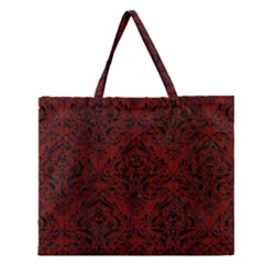 Damask1 Black Marble & Red Wood Zipper Large Tote Bag by trendistuff