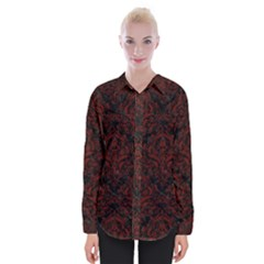 Damask1 Black Marble & Red Wood (r) Womens Long Sleeve Shirt by trendistuff