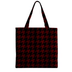 Houndstooth1 Black Marble & Red Wood Zipper Grocery Tote Bag by trendistuff