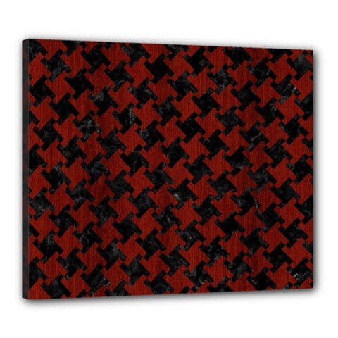 Houndstooth2 Black Marble & Red Wood Canvas 24  X 20  by trendistuff