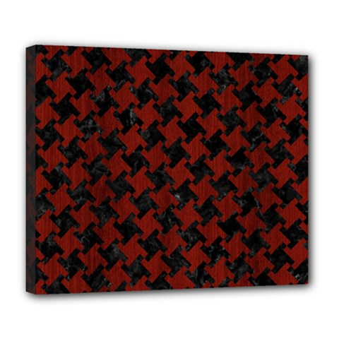 Houndstooth2 Black Marble & Red Wood Deluxe Canvas 24  X 20   by trendistuff