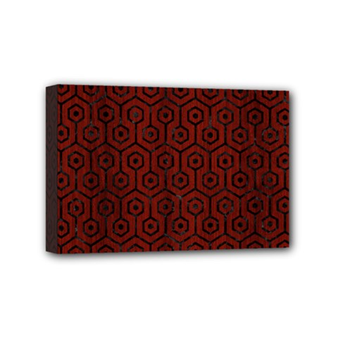 Hexagon1 Black Marble & Red Wood Mini Canvas 6  X 4  by trendistuff