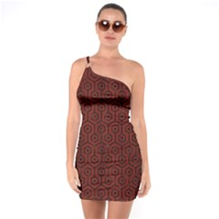 Hexagon1 Black Marble & Red Wood One Soulder Bodycon Dress