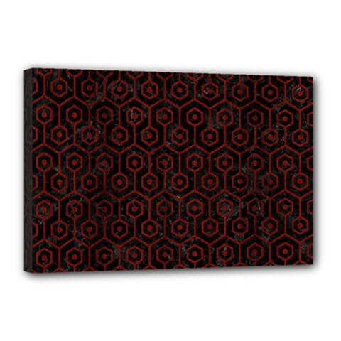 Hexagon1 Black Marble & Red Wood (r) Canvas 18  X 12  by trendistuff