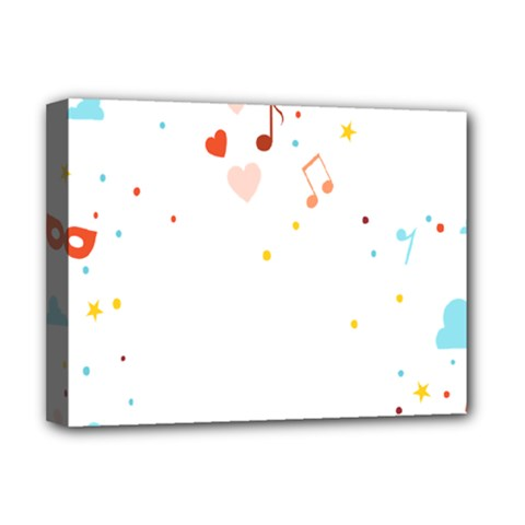 Music Cloud Heart Love Valentine Star Polka Dots Rainbow Mask Sky Deluxe Canvas 16  X 12   by Alisyart