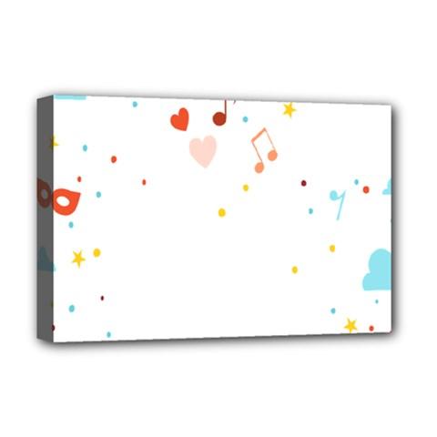 Music Cloud Heart Love Valentine Star Polka Dots Rainbow Mask Sky Deluxe Canvas 18  X 12