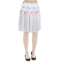 Music Cloud Heart Love Valentine Star Polka Dots Rainbow Mask Sky Pleated Skirt